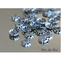 8mm Fancy Round Bead Caps, Antique Silver