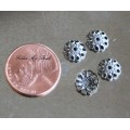 8mm Fancy Round Bead Caps, Antique Silver, Pack of 50