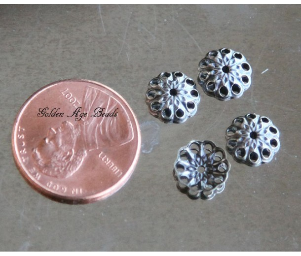 8mm Fancy Round Bead Caps, Antique Silver, Pack of 100
