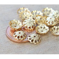 8mm Fancy Round Bead Caps, Gold Plated, Pack of 50