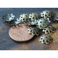 10mm Filigree Round Bead Caps, Antique Brass