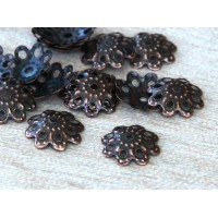 10mm Filigree Round Bead Caps, Antique Copper