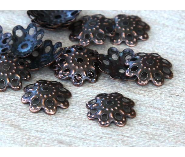10mm Filigree Round Bead Caps, Antique Copper, Pack of 50