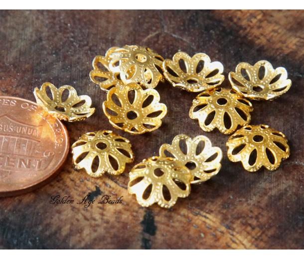 10mm Fancy Round Bead Caps, Gold Tone