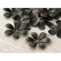 16mm Bendable Flower Bead Caps, Antique Brass