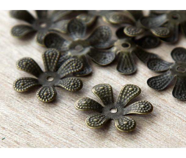 16mm Bendable Flower Bead Caps, Antique Brass, Pack of 40