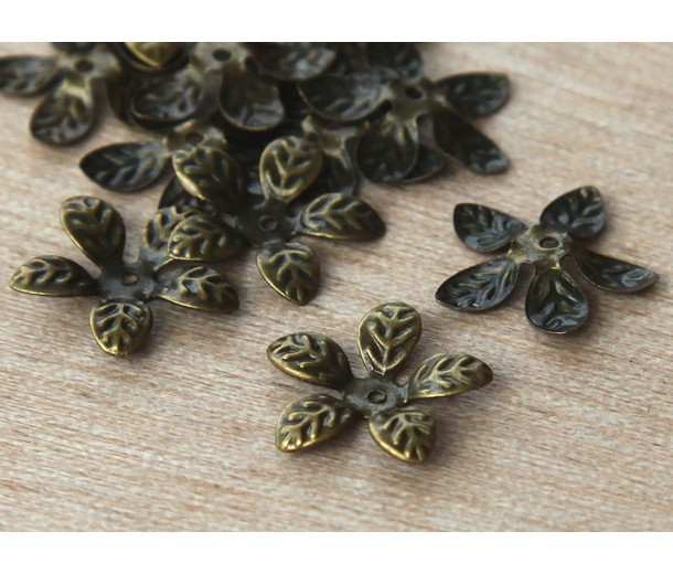15mm Bendable Leaves Bead Caps, Antique Brass