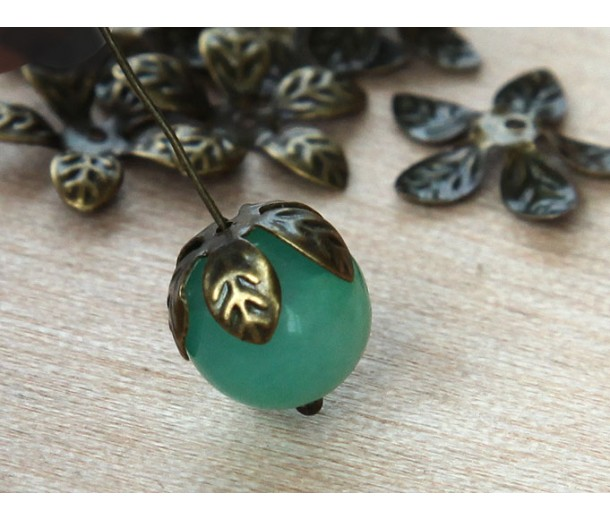 15mm Bendable Leaves Bead Caps, Antique Brass, Pack of 40