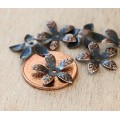 15mm Bendable Leaves Bead Caps, Antique Copper, Pack of 40