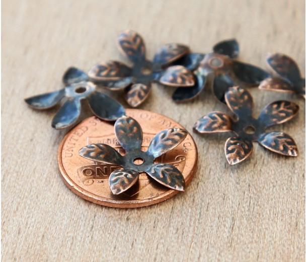 15mm Bendable Leaves Bead Caps, Antique Copper