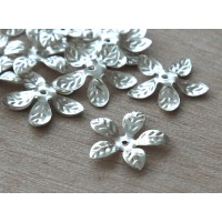 15mm Bendable Leaves Bead Caps, Silver Tone, Pack of 40