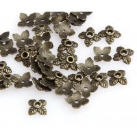 6mm Tiny Leaves Bead Caps, Antique Brass
