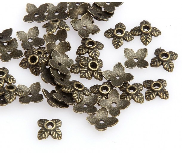 6mm Tiny Leaves Bead Caps, Antique Brass, Pack of 50