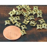 6mm Tiny Leaves Bead Caps, Antique Gold