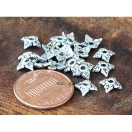 6mm Tiny Leaves Bead Caps, Antique Silver