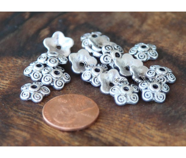 10mm Swirl Bead Caps, Antique Silver