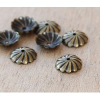 10mm Flat Swirl Bead Caps, Antique Brass