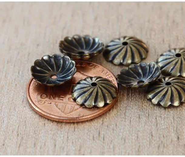 10mm Flat Swirl Bead Caps, Antique Brass