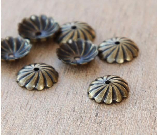 10mm Flat Swirl Bead Caps, Antique Brass, Pack of 20