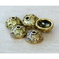 10x5mm Ornate Round Bead Caps, Antique Gold