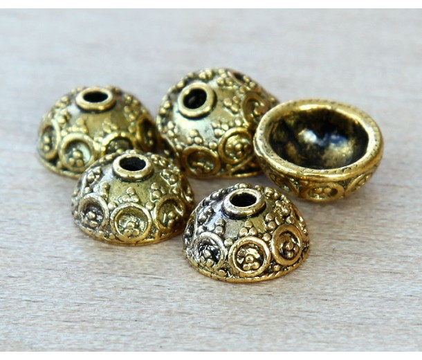 10x5mm Ornate Round Bead Caps, Antique Gold, Pack of 20