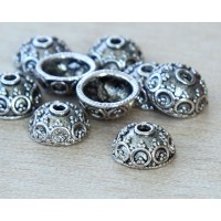10x5mm Ornate Round Bead Caps, Antique Silver, Pack of 20