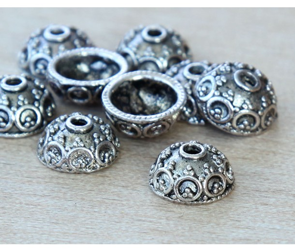10x5mm Ornate Round Bead Caps, Antique Silver