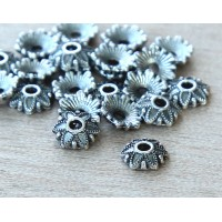 7mm Floral Round Bead Caps, Antique Silver