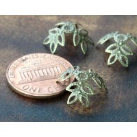 14mm Filigree Leaves Bead Caps, Antique Brass, Pack of 20