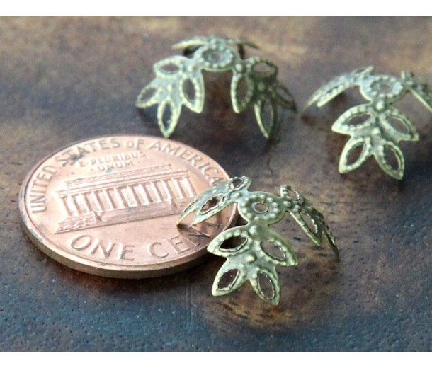 14mm Filigree Leaves Bead Caps, Antique Brass