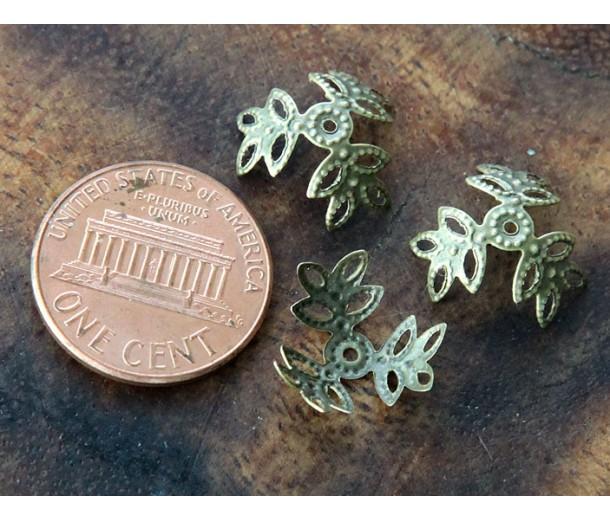 14mm Filigree Leaves Bead Caps, Antique Brass