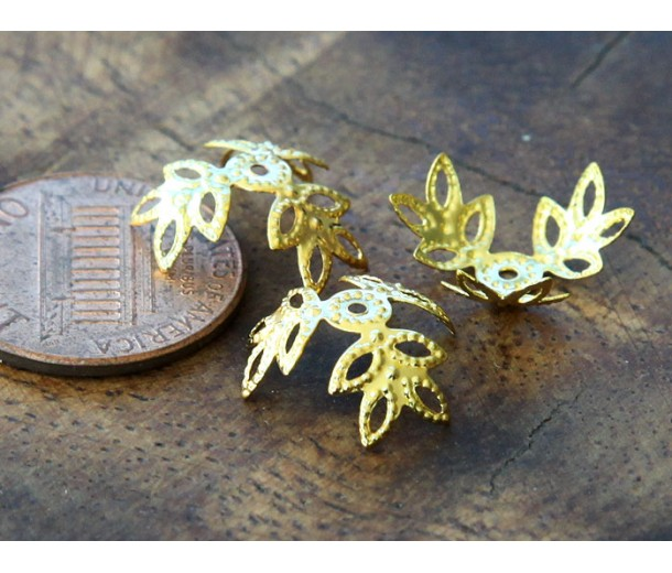 14mm Filigree Leaves Bead Caps, Gold Tone