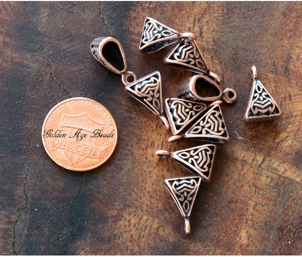 15x9mm Celtic Style Bails, Antique Copper, Pack of 10
