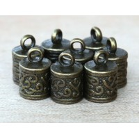 13x8mm Ornate Cord Ends for 6mm Cord, Antique Brass, Pack of 10