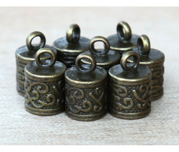13x8mm Ornate Cord Ends for 6mm Cord, Antique Brass