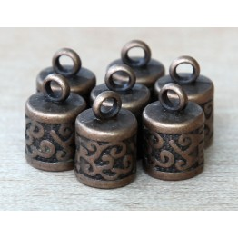 13x8mm Ornate Cord Ends for 6mm Cord, Antique Copper