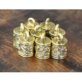 13x8mm Ornate Cord Ends for 6mm Cord, Antique Gold