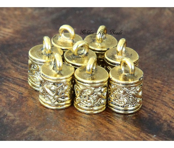 13x8mm Ornate Cord Ends for 6mm Cord, Antique Gold, Pack of 10