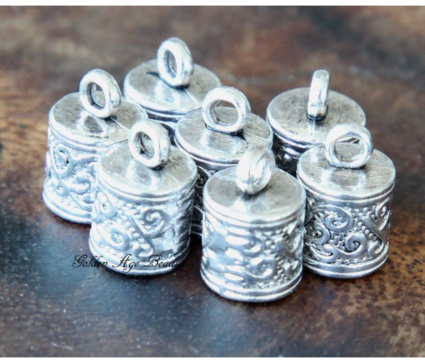 13x8mm Ornate Cord Ends for 6mm Cord, Antique Silver