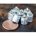13x8mm Ornate Cord Ends for 6mm Cord, Antique Silver, Pack of 10