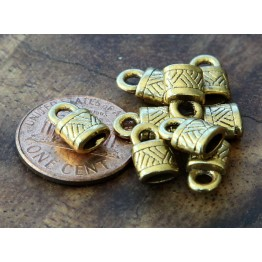 10x6mm Ornate Cord Ends for Oval Cord, Antique Gold