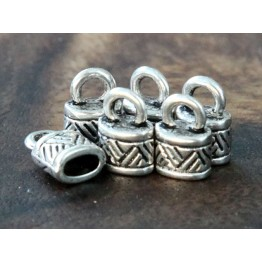 10x6mm Ornate Cord Ends for Oval Cord, Antique Silver