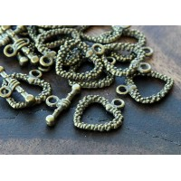 16x19mm Studded Heart Toggle Clasps, Antique Brass, Pack of 4 Sets