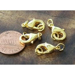 15x9mm Lobster Clasps With Rings, Gold Tone