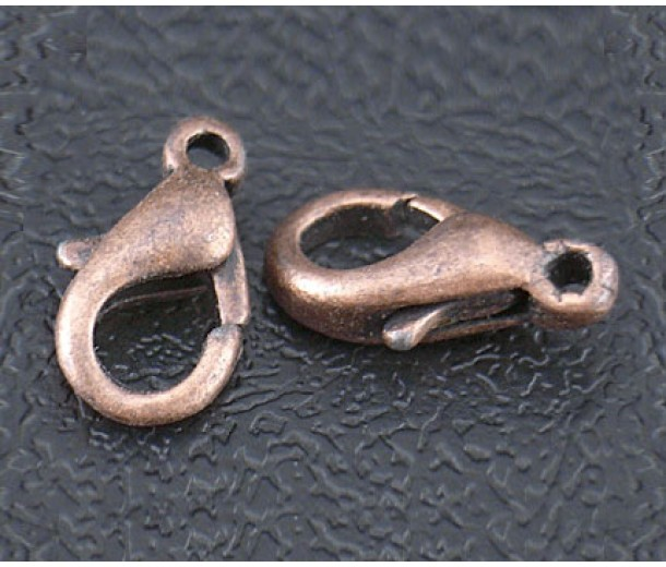 14x8mm Lobster Clasps, Antique Copper, Pack of 20
