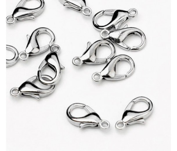 12x7mm Lobster Clasps, Rhodium Plated, Pack of 20