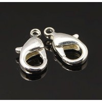 12x7mm Lobster Clasps, Silver Tone, Pack of 20