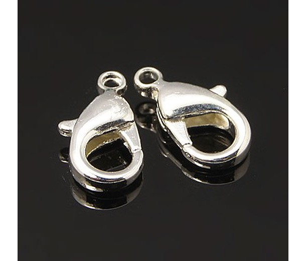 12x7mm Lobster Clasps, Silver Tone