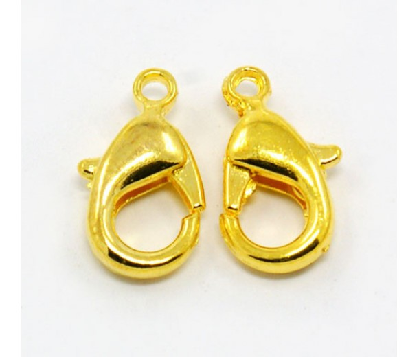 12x7mm Lobster Clasps, Gold Tone