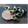 10x6mm Lobster Clasps, Antique Brass, Pack of 50